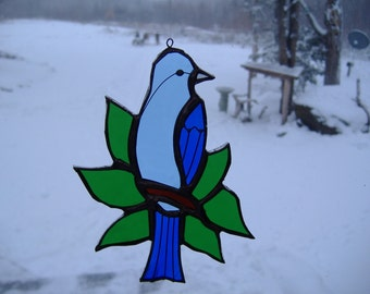 Indigo bunting/leaves stained glass suncatcher