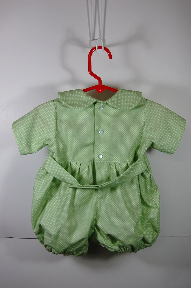Smocking  Romper Outfit mint green with carrot buttons