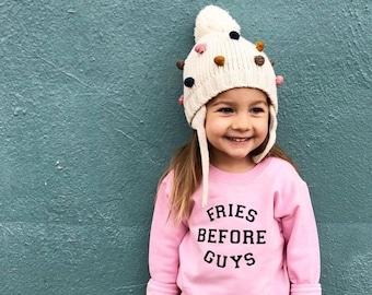 Varsity Sweatshirt, Girls Clothes, Fries Before Guys, Girl Power Crewneck, Feminist Clothing, The Wishing Elephant, Trendy Girls, Funny Tee