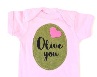 Pink Olive You, Valentines Day Bodysuit, Babys First, Baby Girl Announcement, Pun Bodysuit, VDay Gift, Gifts under 25, I love you, Pimento