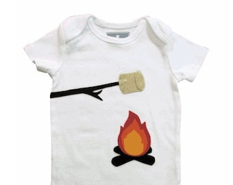 Baby Clothes, Marshmallow Campfire Baby Gift, Camping Gift, Outdoors Gifts, Baby Shower Ideas, Smores Baby clothes, Baby Boy Clothes