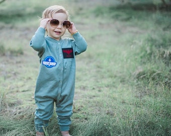 Baby Costume, Personalized Flight Suit, Top Gun Costume, Pilot, Toddler Costume, Baby Girl Aviator, Baby Boy Clothes, Military Costume