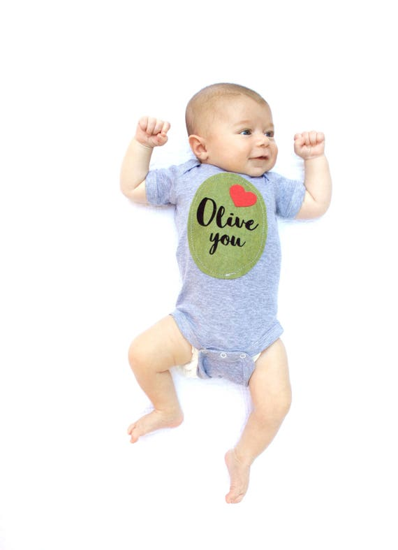 """Olive You"" Baby Shirt with olive applique"