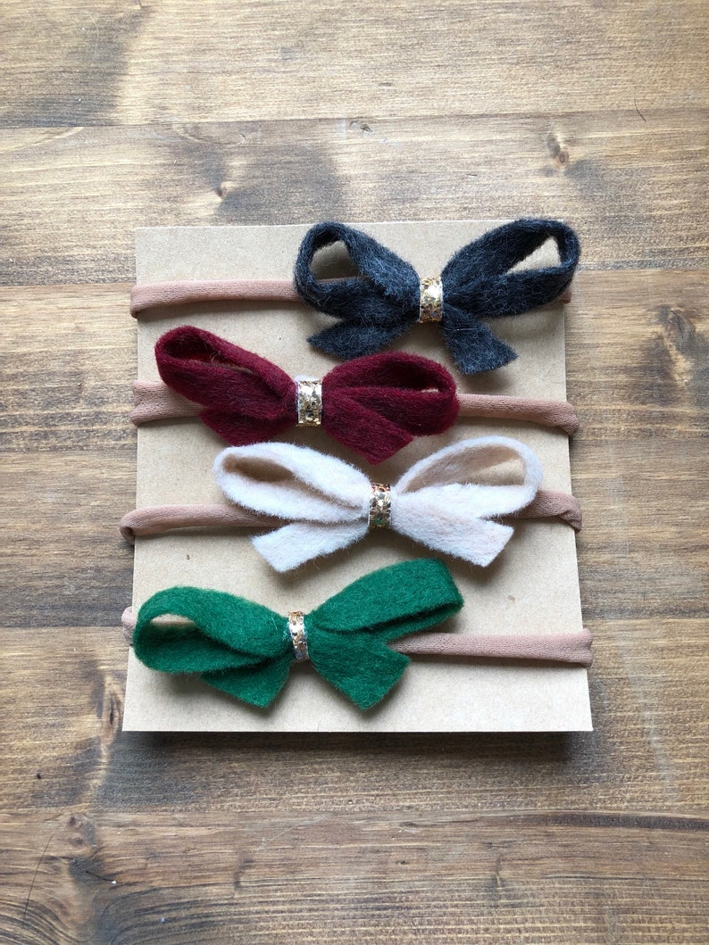 Baby Headbands nylon baby headbandsfelt bows felt glitter bowssuper soft  baby headbands