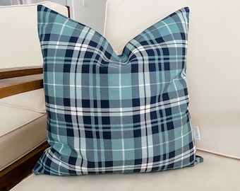 Navy and Blue Plaid Pillow Cover