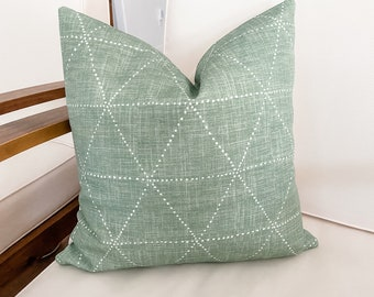Sage with White Triangles Pillow Cover