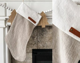 Personalized Light Brown Linen Stocking