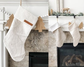 Personalized Off White Linen Stocking