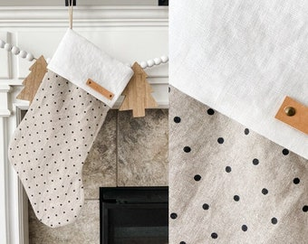 Personalized Light Brown with Black Polka Dots Linen Stocking