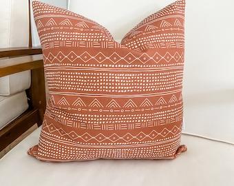 Rusty Orange Tribal Pillow Cover