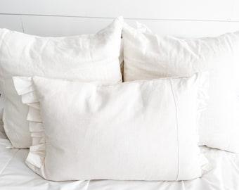 Farmhouse Off-White Linen Ruffle Pillow Cover