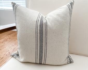 Farmhouse Grain Sack Pillow Cover - Gray Stripes