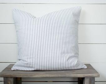 Farmhouse Navy Blue Ticking Stripe Pillow Cover