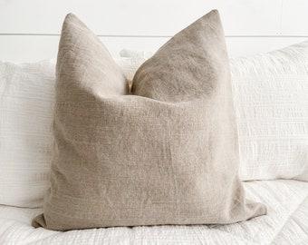 Brown Linen Pillow Cover