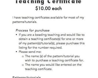 PDF Teaching Certificate for beading teachers