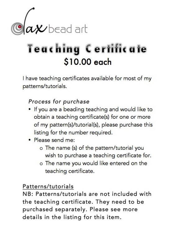 Pdf Teaching Certificate For Beading Teachers Etsy