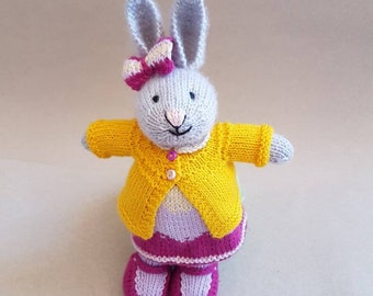 Palest Gray Girl Bunny in Dress of Purple and Yellow with a Yellow Cardigan