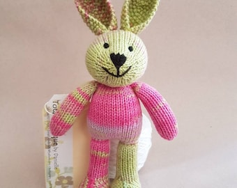 Tiddler Bunny in bright pink and green