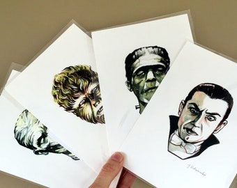 Classic Monster portraits - 4 Prints Collection