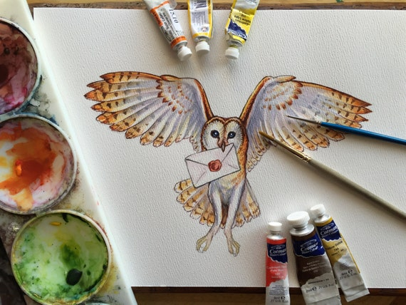 Original watercolour - Owl painting