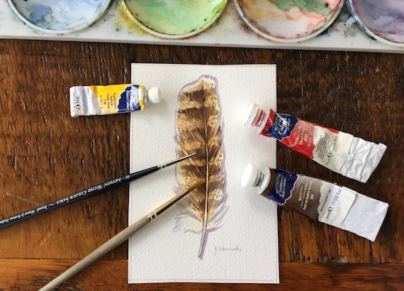 Great Horned Owl feather study - Original Watercolour