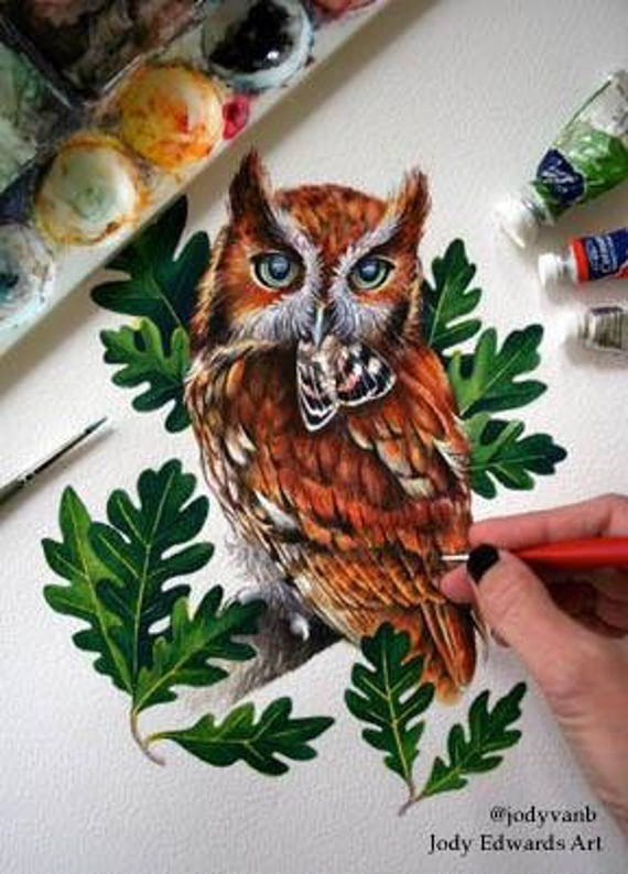Eastern Screech Owl with Moth - Original watercolour painting