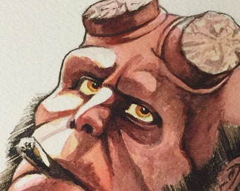 Hellboy watercolour portrait/study
