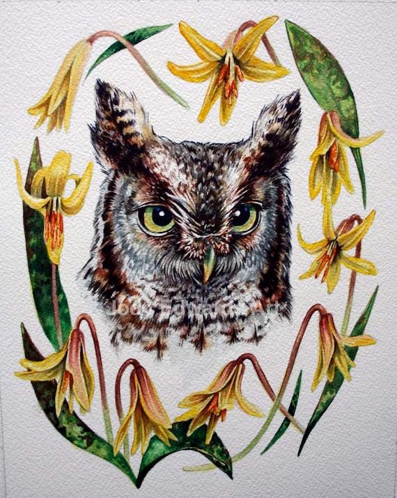 Eastern Screech Owl Grey Morph - Original Watercolour