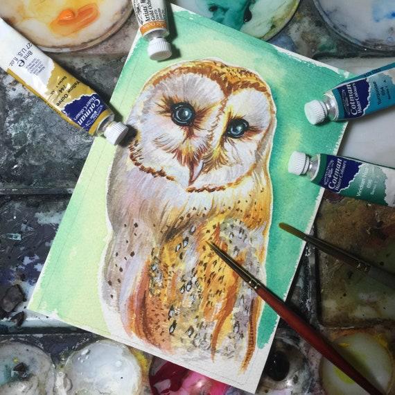 Barn Owl painting - Original Watercolour - Owl Study