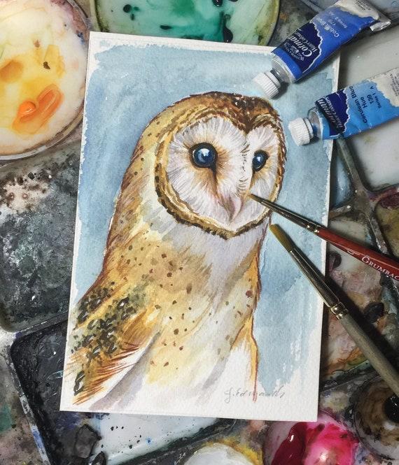 Barn Owl Watercolour - Original Watercolour painting