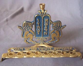 Vintage menorah 1950s / chanukah menorah solid brass / judaica made in Israel / Free fast Shipping!!!