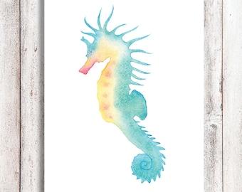Pastel Seahorse Watercolor Printable Art, Seahorse Printable Art, Digital Download Print, Seahorse print,  Seahorse painting, Beach Decor