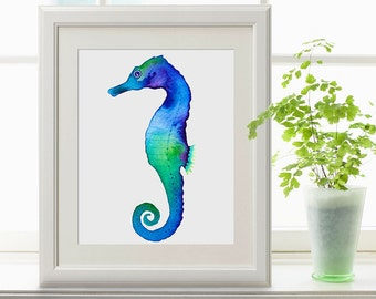 Purple Blue Green Seahorse  Instant Download, Seahorse Printable Art, Digital Download Print, Seahorses print, Seahorse Art