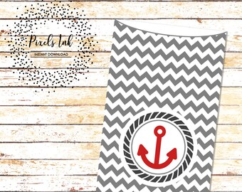 Birthday Party Favors | Goody Bags | Nautical Theme Birthday | Paper & Party Supplies | Dessert Table Bags | Party Printables | Chevron