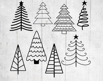 Christmas Tree Doodles - Christmas Tree SVG Bundle - Merry Christmas Tree - Christmas Tree Cut Files - SVGs for Cricut and Silhouette