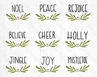 Christmas Ornament SVG, Christmas Bundle SVG, Hand Lettered Round Ornaments, Christmas Ornament svg Bundle, Cut Files for Cricut, Silhouette
