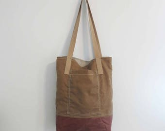 waxed canvas bag tote with leather bottom simple minimalist bag