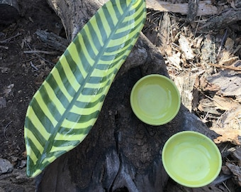 Chartreuse Sushi for Two Set, Leaf Platter, Pottery by Daisy Friesen