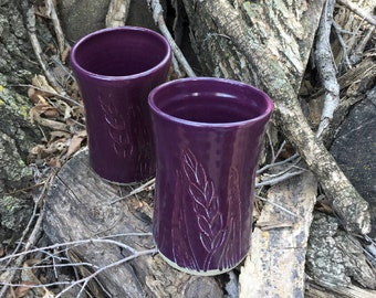 Pottery Tumbler Set of Two 14 oz. Purple Wheat Handmade by Daisy Friesen