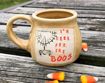 Halloween Mug, I'm Here for the Boos, Spider, Handmade Pottery by Daisy Friesen