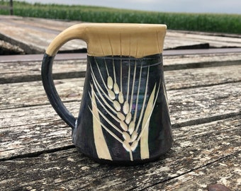 Wheat Mug Black and White Yellow with Mother-of-Pearl luster Pottery Handmade by Daisy Friesen