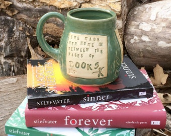 Spring Green Mug-She Made Her Home in Between the Pages of Books- Linger-Maggie Stiefvater-Pottery Handmade by Daisy Friesen