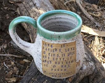 Pottery Mug- 1 Corinthians 13:4- Wheat- Handmade Pottery by Daisy Friesen