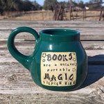 Green Books Are A Uniquely Portable Magic, Stephen King, Handmade Pottery by Daisy Friesen