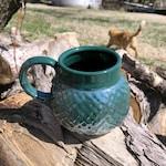 Hemlock Green Dragon Scale/ Mermaid Mug Mother-of-Pearl Luster Handmade by Daisy Friesen