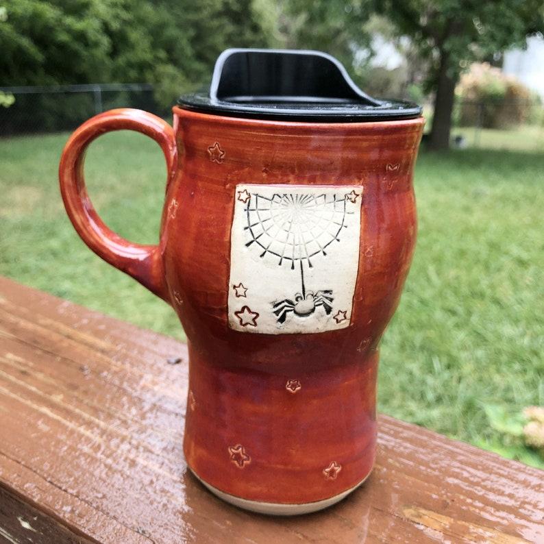 New Halloween Travel Mug Spider Cinnamon Red Pottery image 0