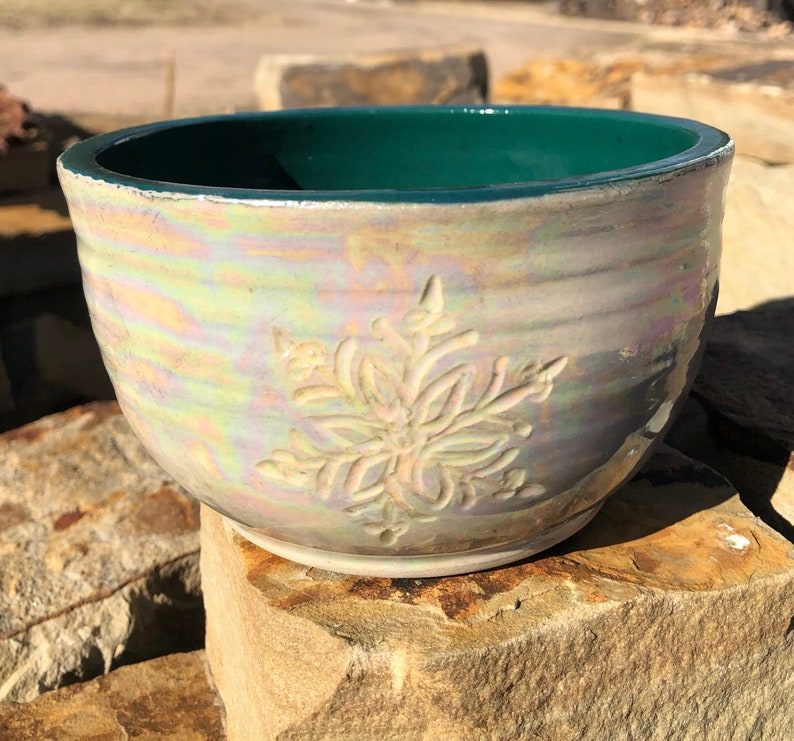 Snowflake Pottery Soup Bowl Cereal Bowl Handmade by Daisy image 0