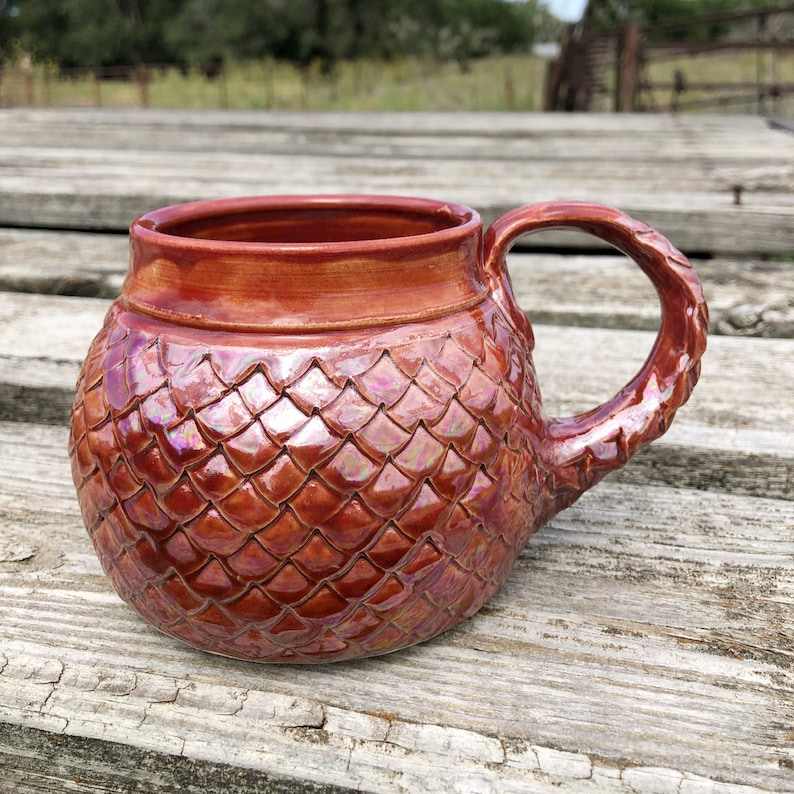 Large Mug Autumn Red Dragon Scale/ Mermaid Mother-of-Pearl image 0