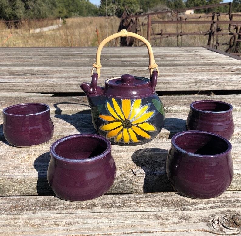 Purple Tea Set with Sunflower Design Handmade Pottery by Daisy image 0
