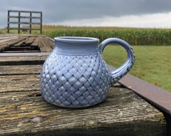 Large Dragon Scale Mug,Mermaid Style Gift, Gifts for her, Periwinkle, Coffee Mug, Tea Cup, Kitchen Cup, Handmade Pottery by Daisy Friesen